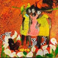 Pınar Tınç - Lemurlu Kızlar/Girls with Lemurs, 70x70 cm, Tuvale çini mürekkebi/Ink on canvas, 2017