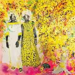 Pınar Tınç - Sarı Jakarandalar/Yellow Jacarandas, 70x70 cm, Tuvale çini mürekkebi/Ink on canvas, 2017