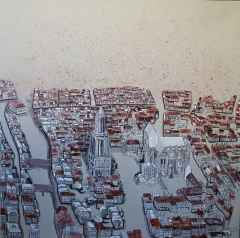 Sümeyye Yuşan - Gouda, 70x70 cm, Tuvale karışık teknik/Mixed on canvas,2017