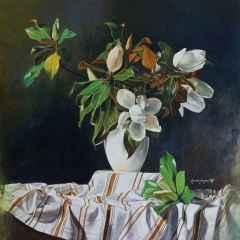 Hasan Saygın - Manolya/Magnolia, 70x70 cm, Tuvale yağlı boya/Oil on canvas, 2017