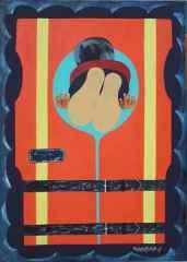 Can Yeleği / Life Vest 50x70 cm, Bez Kaplı Duralit Üzerine Akrilik