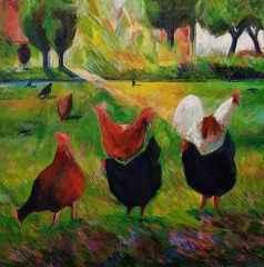 Bahçemin Tavukları, 94x96 cm, TÜAB, 2016