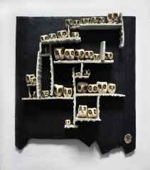 'Duvar Seramiği', Serbest elle şekillendirilmiş ,sırlı stoneware, 1240°C, 35x35 cm, 2014