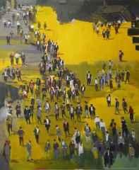 """140x116 cm - TÜAB - 2012 - """"Sarı Sayfalar- Merdivenli Kompozisyon"""""""