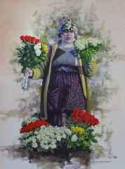 Fatih Karakaş<br />'Kadıköy Çiçekçisi', 80x60 cm, TÜYB, 2016