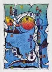 120x85 cm - Ağaç Baskı - 2014 - Çatalhöyük'te Yaşam-IV