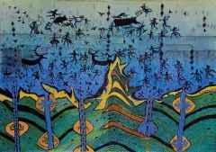 85x120 cm - Ağaç Baskı - 2014 - Çatalhöyük'te Yaşam IV