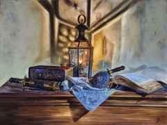 'Tel Kırma' - 90x120 cm, Tuvale Yağlı boya