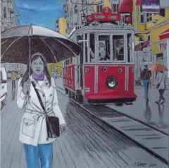"""30x30 cm - TÜAB - 2013 - """"Yağmurlu Günde İstiklal'de"""""""