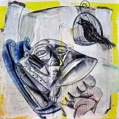 Erhan Lanpir - Mavi Koltuk - 20x20 cm
