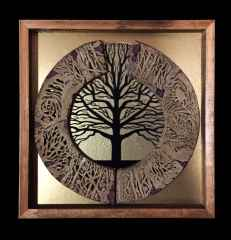 'Hayat Ağacı', 43x43x4 cm, 1200° -Seramik Ajur ve Cam Füzyon Tekniği