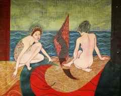 Deniz Kenarında İki Kız - 120x150 cm, TÜAB