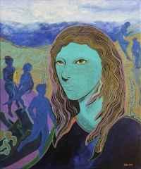 Yeşil Kadınlı Peyzaj - 60x50 cm, TÜAB