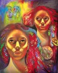 Filiz Pelit<br /> 'les jumeaux d'eesse de l'Anatolie', 100x80 cm - Tuvale Yağlı Boya - 2014