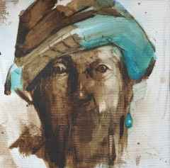 'Portre', 20x20 cm, Tuvale Yağlıboya