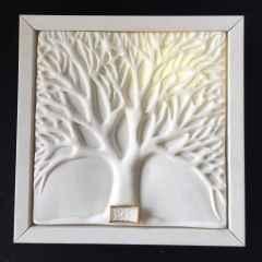 Çınar Ağacı-II, 19,5x19,5x4 cm, Dökümle Şekillendirme, Porselen, 1200 °C, 2017