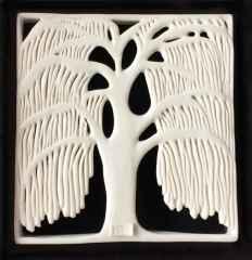Salkım Söğüt-VI, 22,5x23,5x5 cm, Porselen, Dökümle ve Elle Şekillendirme, 1200°C, 2017