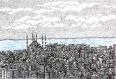 'İstanbul', 18x24 cm, Kağıt Üzerine Rapido Kalem, 2015