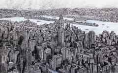 'New York', 33x48 cm, Kağıt Üzerine Rapido Kalem, 2016