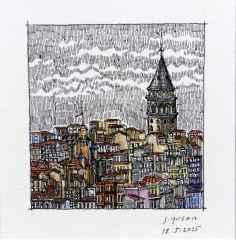 'Galata Kulesi', 5.5x6 cm, Kağıt Üzerine Suluboya, 2015