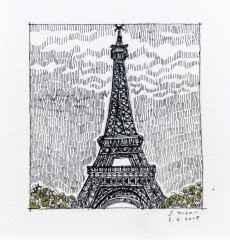 'Eyfel kulesi', 5.5x6 cm, Kağıt Üzerine Suluboya, 2015