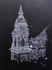 'Stephens basilica', 21x15 cm, Kağıt Üzerine Beyaz Kalem, 2016