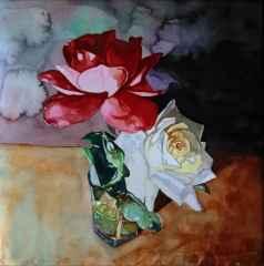Çağlar Öztürk – 'Kırmızı ve beyaz güller', 25x25 cm, Suluboya, 2015