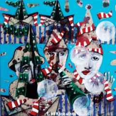 Tamer Derican - 'Mavi' - 25x25 cm, TÜYB, 2017