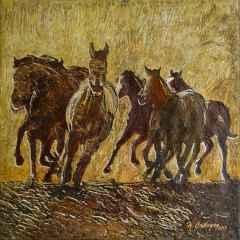 Hasan Çağlayan - Yılkı atları-III - 25x25 cm - TÜKT - 2018